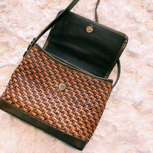 Vintage Bags - Vintage Brown-On-Brown Woven Crossbody Purse